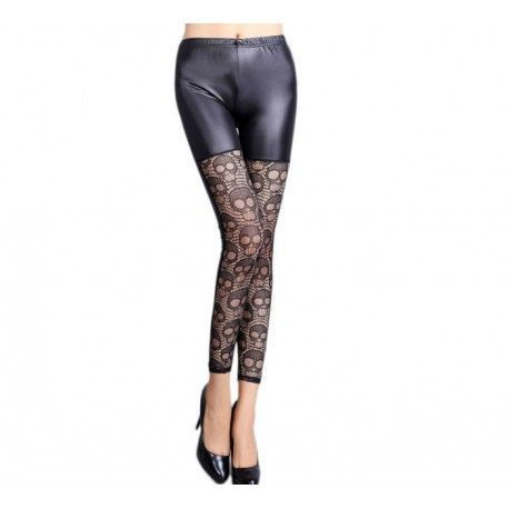Leggings Black Leather Splice